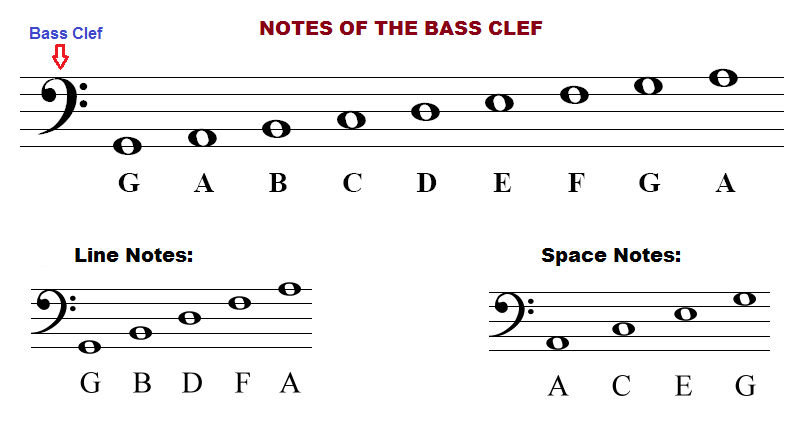 How to read piano notes on the bass clef