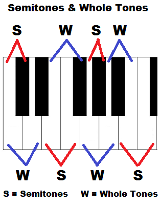 Whole tones and semitones (whole steps and half steps) on piano