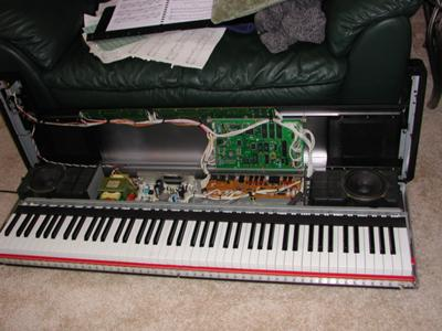 Top cover open and front of keyboard exposed